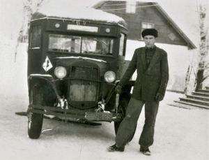 Ērgļu slimnīcas pirmais sanitārais transports. 1950. gadi
