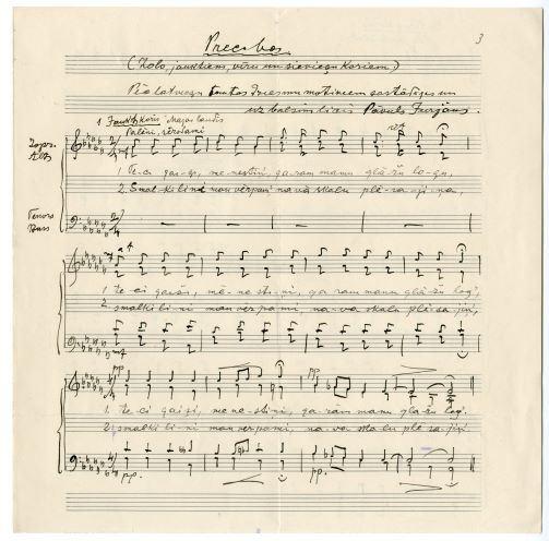 """Notis- rokraksts """"Precības"""" pēc latviešu tautas dziesmu motīviem sastādīji un uz balsīm licis Pāvuls Jurjāns- solo, jauktiem, sieviešu un vīru koriem"""