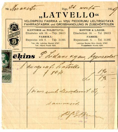 """Rēķins par viena kungu rata (velosipēda) """"Latvello 8010"""" iegādi. 1929.gada 26.martā. P.Līdaks iegādājies velosipēdu par 190 latiem"""